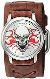 De los hombres némesis 922BFRBS la serie Calavera en llamas de cuarzo japonés con visualización analógica marrón reloj