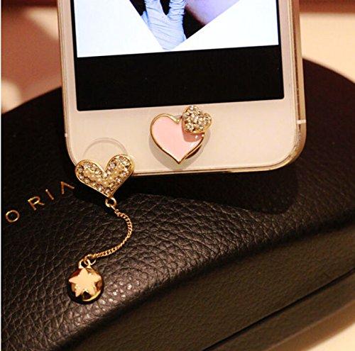Bthdhk(TM) Love Pearl Diamond Pendant Pentagram Anti Dust Dock Ear Plug +Pink Love Home Button for Iphone 6S (Iphone Charms)