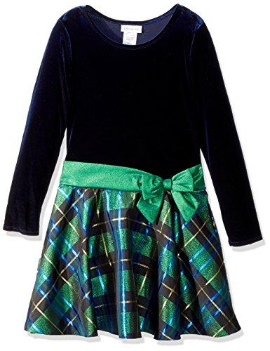Bonnie Jean Girls' Big Hipster Dresses, Green/Blue Plaid, 7 -
