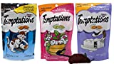 Temptations Cat Treats 3 Flavor Variety with Toy Bundle, 1 each: Chicken Flavor Hairball Control, Creamy Dairy, and Blissful Catnip (2.1-3 Ounces).