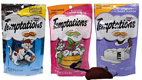 - Temptations Cat Treats 3 Flavor Variety with Toy Bundle, 1 each: Chicken Flavor Hairball Control, Creamy Dairy, and Blissful Catnip (2.1-3 Ounces).
