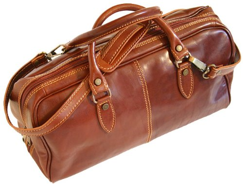 (Floto Brown Venezia Mini Duffle Bag in Italian calfskin leather)