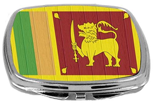 Rikki Knight Compact Mirror on Distressed Wood Design, Sri Lanka Flag, 3 -