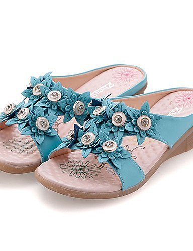 ShangYi Womens Shoes Leatherette Wedge Heel Slingback Sandals Dress / Casual Blue / White White