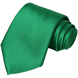 KissTies Emerald Green Tie Solid Wedding Satin Ties Mens Necktie Greenery