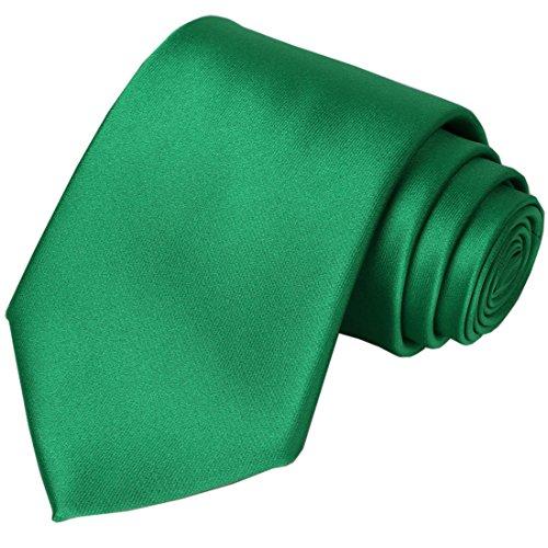 KissTies Emerald Green Tie Solid Wedding Satin Ties Mens Necktie Greenery -
