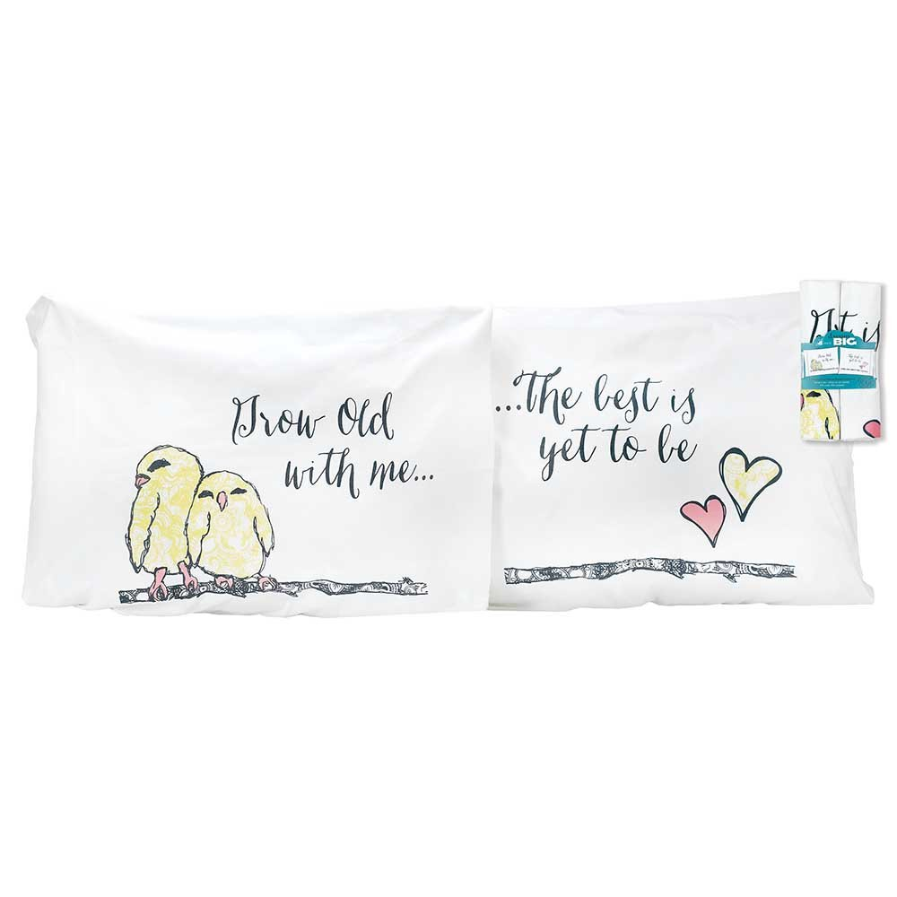 Jozie B 200103'' Grow Old with Me Lovebirds Pillow Case, Set of 2