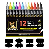 Woodsam Premium 12-Color Liquid Chalk Paint Markers - 6mm Microfiber Fine Tips –