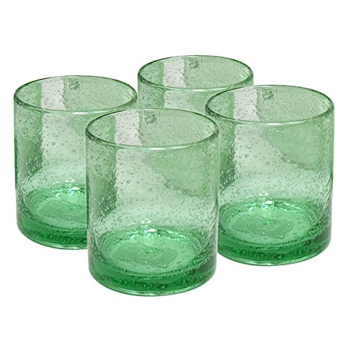 Artland Iris Seeded Light Green 14 Ounce Double Old Fashioned Glass, Set of ()