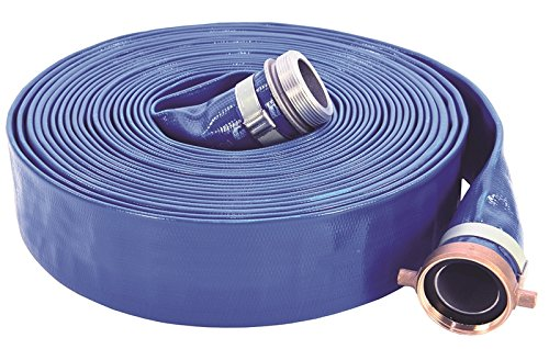 Abbott Rubber PVC Discharge Hose Assembly, Blue, 1-1/2' Male X Female NPSM, 70 psi Max Pressure, 50' Length, 1-1/2' ID