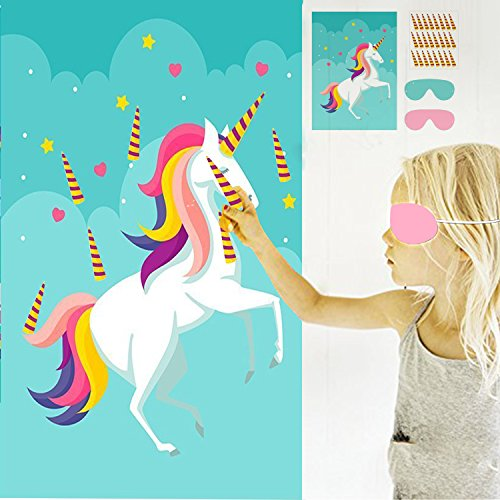 Pin the Horn on the Unicorn Birthday Party Favor Games for Kids Birthday Decorations Unicorn Party Supplies with large rainbow poster & 56 stickers Favor Unicorn Gifts for Girls boys (Halloween 4 Poster Mask)