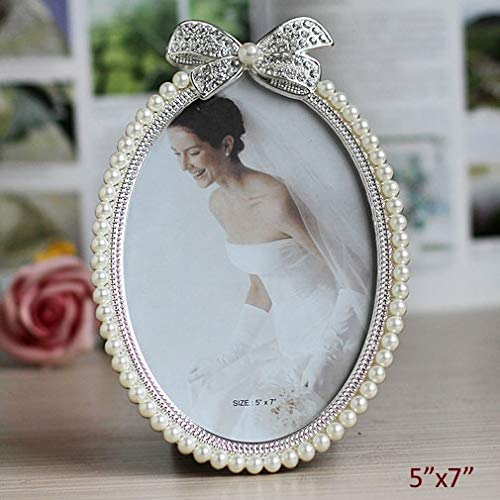 Golden Store129 Vintage Oval Picture Frame 5x7 inches European Shaped Silver Plated with White ABS Pearls Jeweled Ribbon