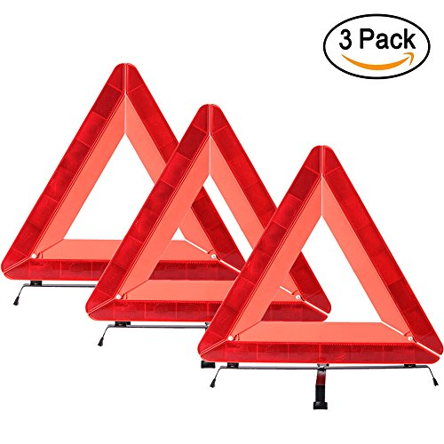 Emergency Roadside Triangles Safety Warning Triangle Sign Reflective Vehicle Warning Triangle Kit Triple Foldable Early Warning Roadside Tool-Pack of (Roadside Safety Triangle)
