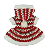 Fitwarm Christmas Party Knitted Dress for Dog Sweater Hooded Coat Pet Clothes Red Large For Sale