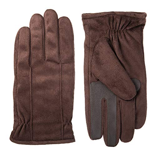 Isotoner Men's Microfiber Touchscreen Gloves w/Water Repellent Technology, brown, Large