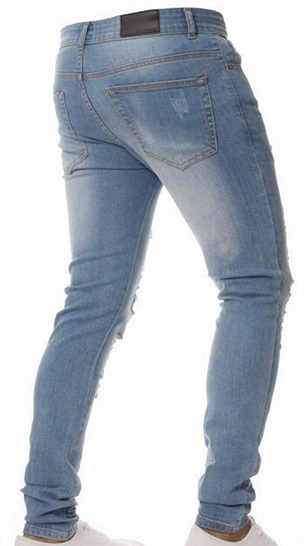 BYWX Men Ripped Skinny Destroyed Slim Fit Jeans Pants with Holes