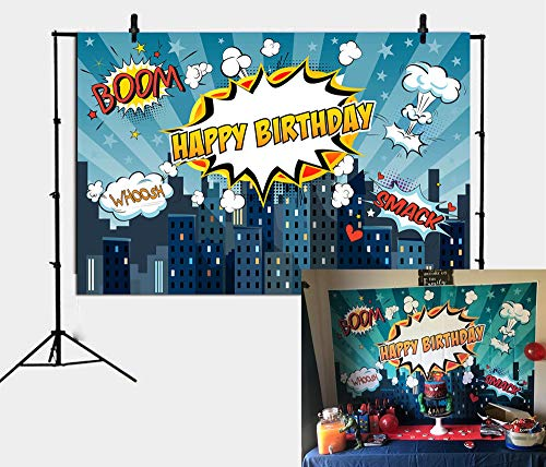 Fotupuul 7x5FT Superhero City Theme Photo Booth Birthday Party Decoration Supplies Background Studio Prop]()