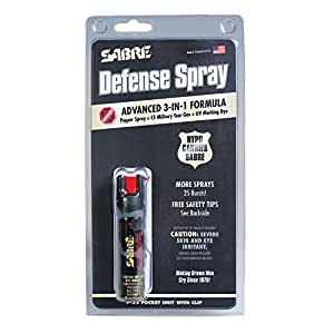 SABRE 3-IN-1 Pepper Spray - Advanced Police Strength - Compact Size with Clip, Contains 35 Bursts (5x Other Brands) & 10-Foot (3M) Range