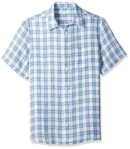 Calvin Klein Men's Short Sleeve Lightweight Cotton Linen Button Down Shirt, Cornflower Blue, Large