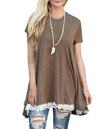 Foshow Womens Short Sleeve Tunics Lace Loose Fitting Spring Tops Tunic Dresses for Leggings Coffee