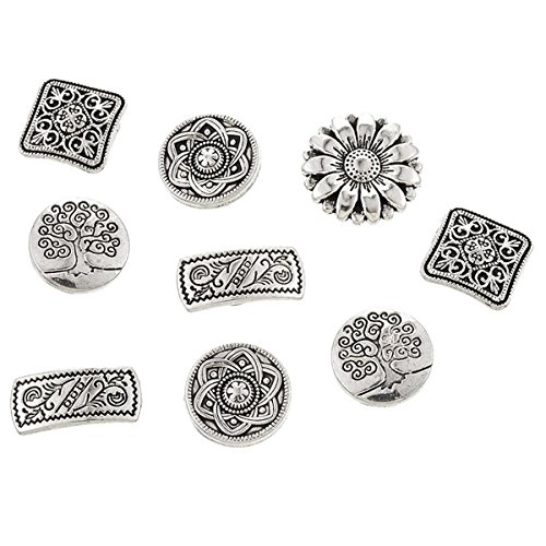 Yeenee Metal Buttons - 50Pcs Assorted Mixed Vintage Style Engraved Flower Decorative Round Buttons for Crafts Sewing Coats Jeans Suits DIY