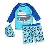 JUIOKK Boys 2-Pieces Swimsuit Swim Cap,Kids Rashguard Long Sleeve Sun Protection Swimwear