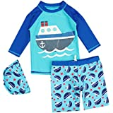 JUIOKK Boys 2-Pieces Swimsuit With Swim Cap,Kids Rashguard Long Sleeve Sun Protection Swimwear
