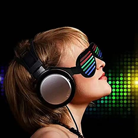 Clubbing Bar Birthday Concert /& Disco USB Rechargeable LED Flashing Sunglasses of Shutter Shades Eyewear for Party Decoration Music /& Sound-Activated LED Light Glasses Black Rave