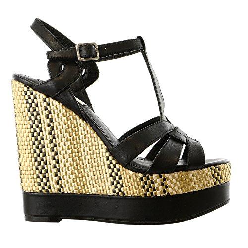 Lauren Ralph Lauren Women's Maeva Wedge Sandal, Black Soft Burnished Calf, 10 B US ()