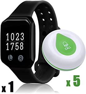 Wireless Calling System in Restaurant,BYHUBYENG Paging System with 5 Call Buttons 1 Food Taking Pager Restaurant Waiter Calling Watch for Restaurant