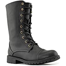 RF ROOM OF FASHION Women's Ankle Lace Up Combat Boots | Mid Calf Military Motorcycle Booties | Hidden Credit Card Pockets