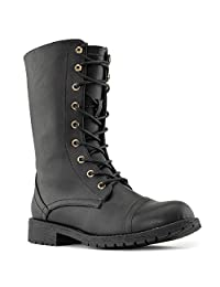 Women's Military Combat Lace Up Mid Calf Boots