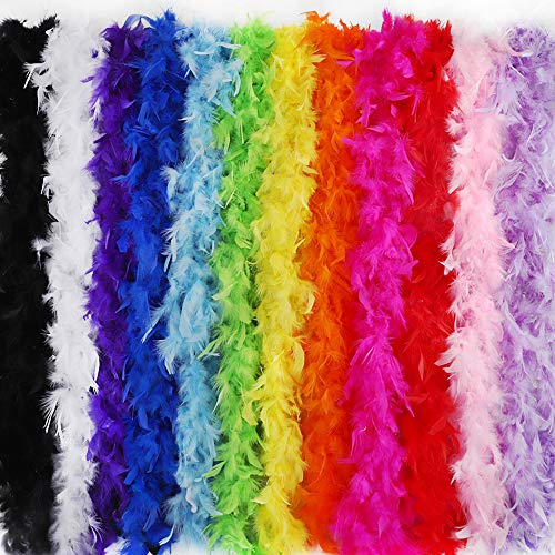 Outuxed 12Pcs 6.6ft Colorful Party Feather Boas for Adults 40g with 12 Colors for Women Girls Dressup Theme Party Bulks -