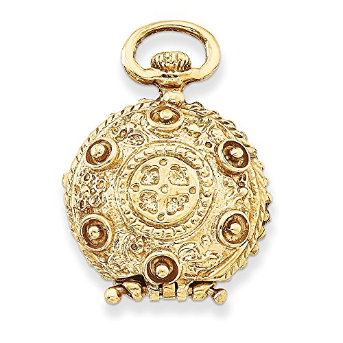 14k Yellow Gold 20mm Reversible Round Vintage Style Locket ()