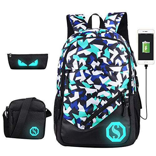 JiaYou Boy Girl Unisex 20L Fashion School Bag Backpack Bookbag with Florescent...