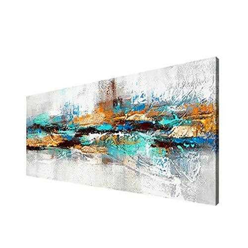 Moderna Sobre Carteles Cuadro En Lienzo,Pintura Azul Marino Imagenes Abstracta Impresiones De La Lona Arte De La Pared Para La Decoracion De La Sala De Estar- (Sin Marco)(50x150cm)