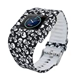 Rayability Colorful Fitbit Blaze Silicon Bracelet Strap Rplacement Band for 23mm Blaze Silicone Fitness Monitor Sleep Tracker, One Size (Skull Black)