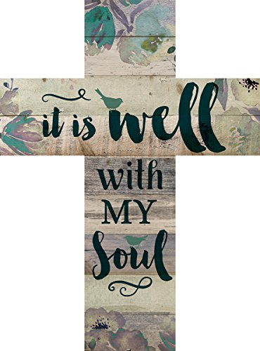 P. Graham Dunn It is Well with My Soul Floral Bird Design 14 x 10 Wood Wall Art Cross Plaque