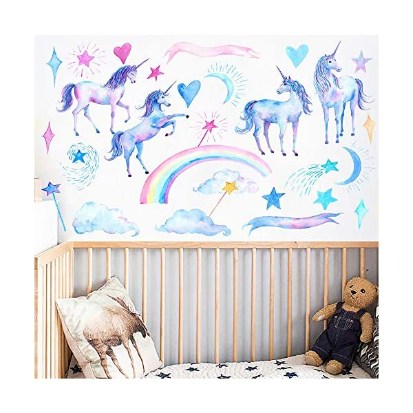 HAOLEJIA Beautiful Kids' Bedroom Unicorn Wall Sticker Decal,3D Art Decal Sticker for Child Room Wall Decoration 8