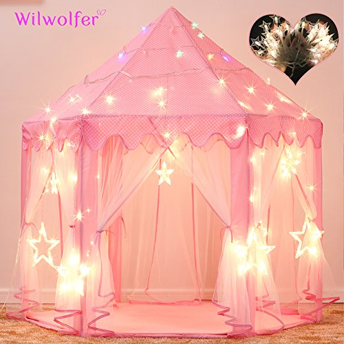 Princess Tent Large Castle Playhouse for Children Indoor and Outdoor Games Hexagon Kids Play Tent with 17 Feet 50 Star Lights (Pink)