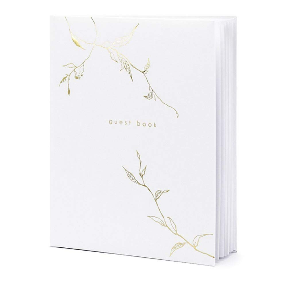 Luck White Guest Book Gold Branches 20 x 24.5cm Wedding 22 pages