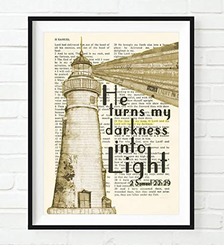 He Turns My Darkness into Light, 2 Samuel 22:29, Christian Unframed Reproduction Art Print, Lighthouse Vintage Bible Verse Scripture Gift, 5x7 Inches