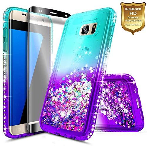 Galaxy S7 Edge Case w/[Full Coverage Premium Screen Protector], NageBee Glitter Liquid Quicksand Waterfall Flowing Shiny Sparkle Bling Diamond Girls Cute Case for Samsung Galaxy S7 Edge -Aqua/Purple