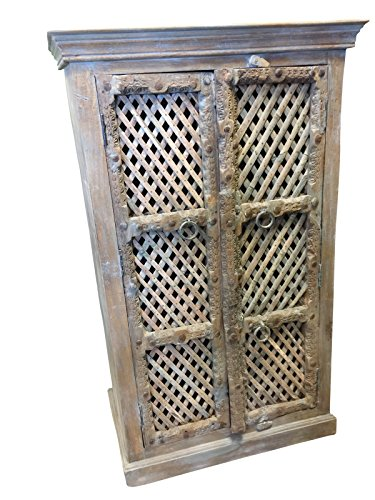 Mogul Interior Antique Carved Indian Blue Cabinet Latticed Window Hand Made Wooden Storage Vintage Furniture Distressed Farmhouse Country Conscious ()