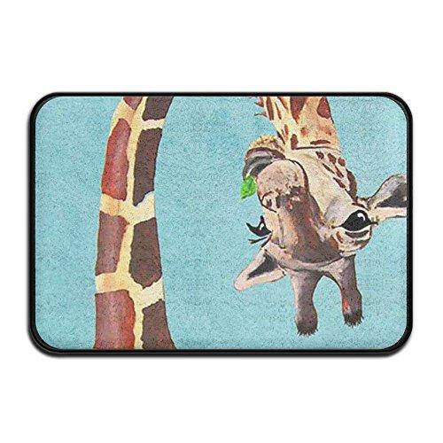 Funny Giraffe Sky Blue Bath Rug