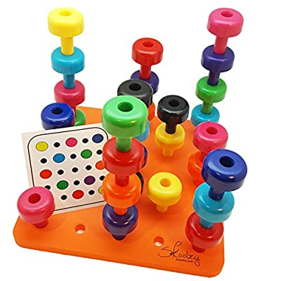 Skoolzy Peg Board Toddler Learning Toys -Fine Motor Skills Montessori Toys for Toddlers - 32 pc Stacking Occupational Therapy Games for Kids - 9 Color Sorting Boys and Girls Toys. Age 2+: Toys & Games
