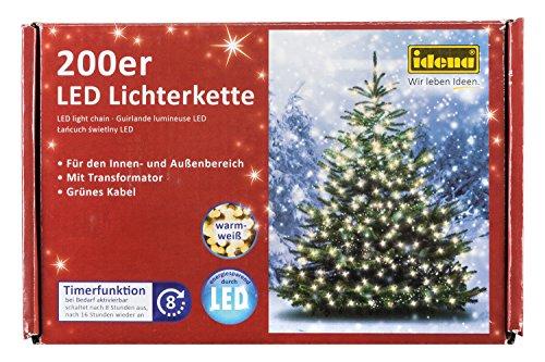 Idena LED Lichterkette 200er, ca. 27,90 m, für innen/außen, warm-weiß