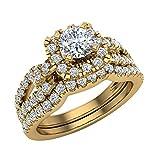 1.05 ct tw Diamond Loop shank Cushion Shape Wedding Ring Set 14K Yellow Gold (Ring Size 9)