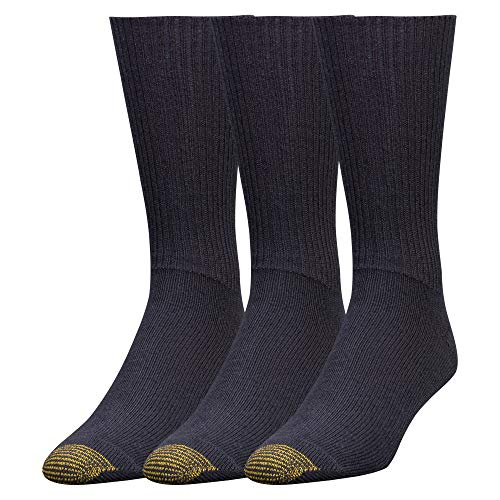 Gold Toe Men's Fluffies Casual Sock, 3-Pack, Navy, 10-13 (Shoe Size ()