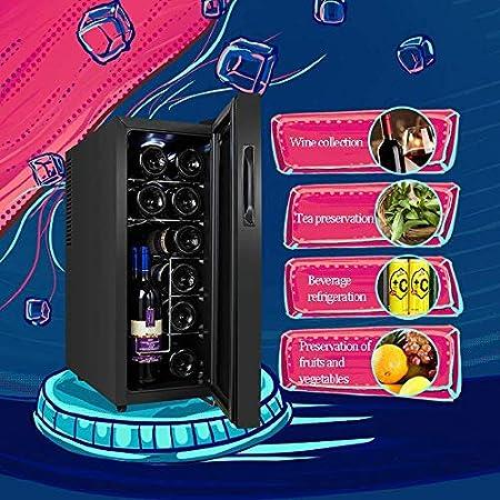 YFGQBCP 12 botellas de vino más fresco, completamente silenciosas termoeléctrica refrigerador de vino, independiente Pequeño refrigerador de vino de la pantalla táctil digital de la pantalla de temper